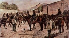 Artillery Corps Riding On A Village Road