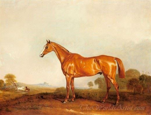 A Golden Chestnut Hunter In A Landscape