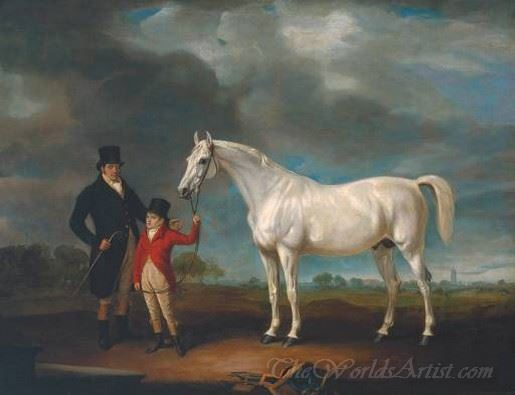 Mr Powell And His Son With Norton A Grey Hunter