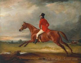 Major Healey Wearing Raby Hunt Uniform Riding With The Sedgefield Hunt