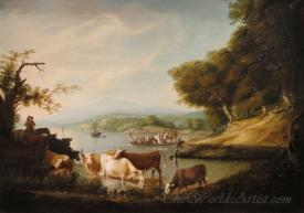A Calm Watering Place Extensive And Boundless Scene With Cattle