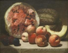 A Still Life With Watermelon And Peaches