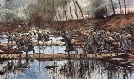 French Troops Attacking Across The Flooded Flanders Plain