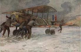 Ground Crew Attending To A French Spad On A Snow Covered Field