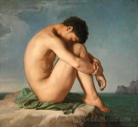 Young Male Nude Seated Beside The Sea  (Jeune Homme Nu Assis Au Bord De La Mer)