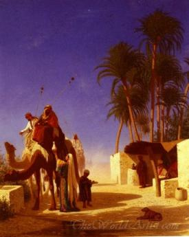 Camel Drivers Drinking From The Wells