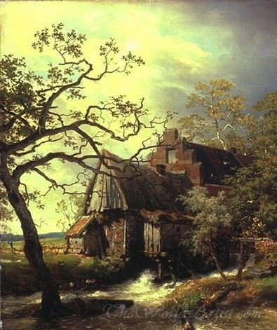 Mill On The River Landscape With Watermill
