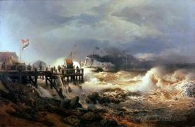 Departure Of A Steamer Storm On A Dutch Coast