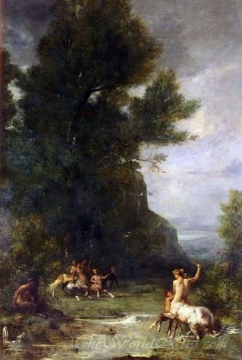 Centaurs And Centauresses Exercising By Shooting With The Bow