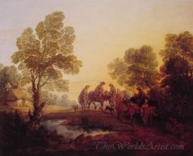 Evening Landscape Peasants And Mounted Figures