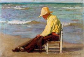 Anciano En La Playa Arreglando Las Redes  (Elderly On The Beach Mending Their Nets)
