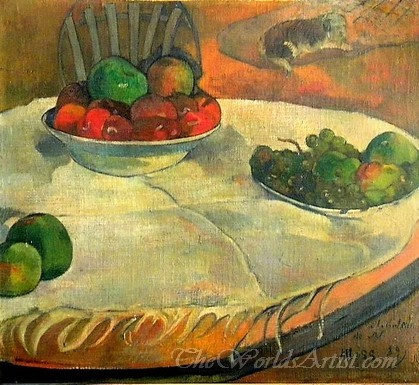 Fruits On A Table With A Small Dog  (Fruits Sur Une Table Ou Nature Morte Au Petit Chien)
