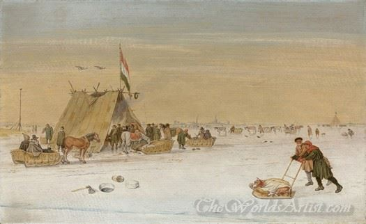 A Winter Landscape With Figures On The Ice