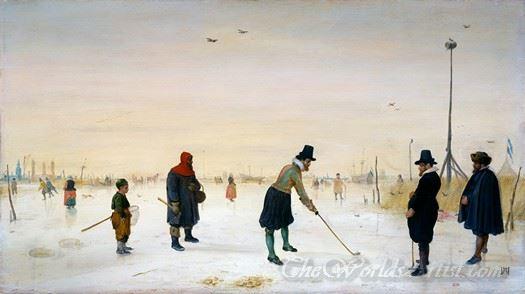 Golfspelers Op Het Ijs  (Golfers On The Ice)