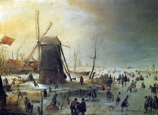 Winter Scene With Skaters By A Windmill