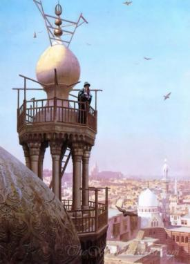 A Muezzin Calling From The Top Of A Minaret The Faithful To Prayer
