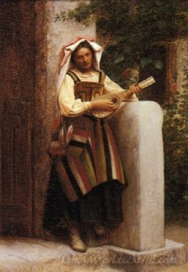 An Italian Girl Playing A Mandolin