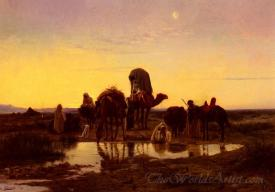 Camel Train By An Oasis At Dawn