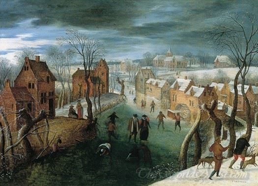Winter Landscape With A Town Skaters In A Frozen River And Hunters