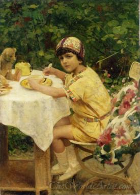 Colazione All Aria Aperta Il Nipote Giacomino In Giardino  (Breakfast In The Fresh Open Air The Nephew Giacomino In The Garden)