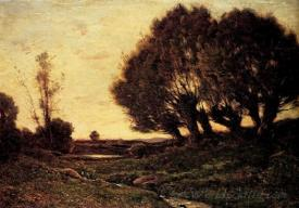 A Wooded Landscape With A Stream