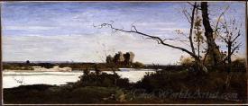 Bords De La Loire Etude Pour Les Corbeaux Paysage  (Banks Of The Loire River Study For The Ravens Landscape)