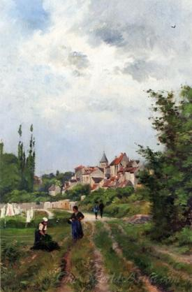Washer Women On A Sandy Track With A Village Beyond