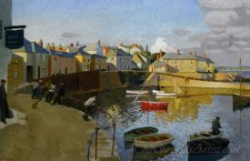 A View Of Mousehole Harbour Cornwall