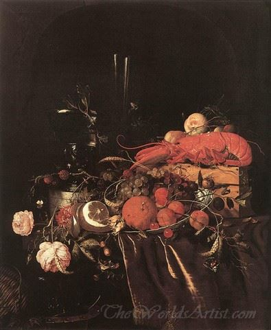 Still Life With Fruit Flowers Glasses And Lobster