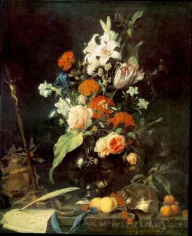 Flower Still Life With Crucifix And Skull