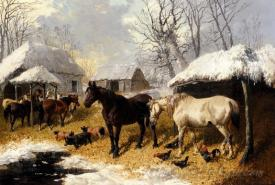 A Farmyard Scene In Winter