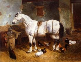 Horse And Poultry In A Barn