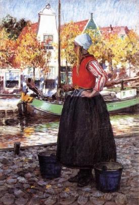 Woman Along Canal A Young Dutch Girl