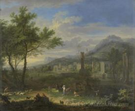 Arcadian Landscape With Fishermen