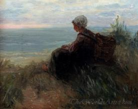 A Fishergirl On A Dune Top Overlooking The Sea