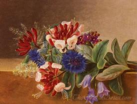 A Still Life With Honeysuckle Blue Cornflowers And Bluebells On A Marble Ledge