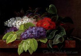 White And Purple Lilacs Camellia On A Ledge