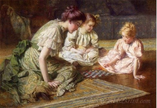 Mother And Daughters Playing Chess