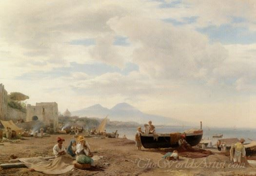 Fischer Am Strand Von Amalfi Im Hintergrund Der Vesuv  (Fishermen On The Beach In Amalfi In The Backdrop Of Mount Vesuvius)