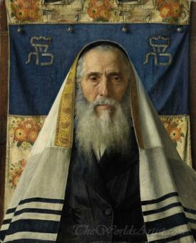 Portrait Rabbi With Prayer Shawl