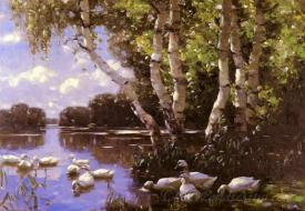 Eleven Ducks Under The Birch Trees And In The Water