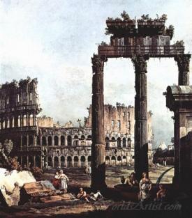 Capriccio Romano Colosseum With The Ruins Of The Temple Of Vespasian