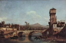 Capriccio Veneto River Bridge And Medieval Town Gate