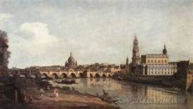 Dresden From The Right Bank Of The Elbe With The Augustus Bridge