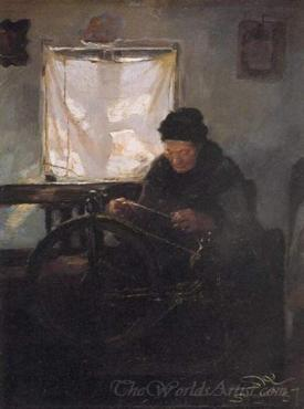 Old Woman At The Spinning Wheel  (Elderly In The Distaff)