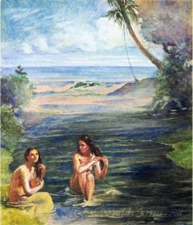 Women Bathing In Papara Riiver