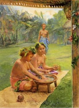 Young Girls Preparing Kava Outside Of The Hut