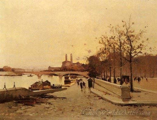 Pont Sur La Seine Avec Une Vue Sur L Ancien Trocadero  (Bridge Over The Seine With A View Of The Old Trocadero)
