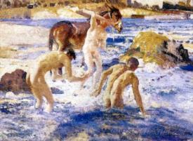 Anzacs Bathing In The Sea