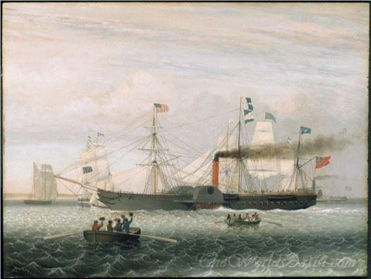 Cunard Line Rms Britannia Boston Harbor